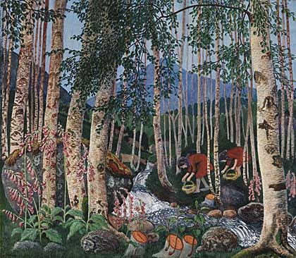 a colourful woodcut of two figures picking flowers among trees.Nickolai Astrup.