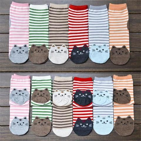 "Smiling Kitty Striped Socks 6 pair Wear a different kitty every day and get you cat on with these cute quality 6 pack cotton striped cat socks.  Size:22.5cm—24.5cm/8.66""—9.64""(approx) Sock Type: Casual Pattern Type: Striped Thickness: Thin Brand Name: Womail Material: Cotton"