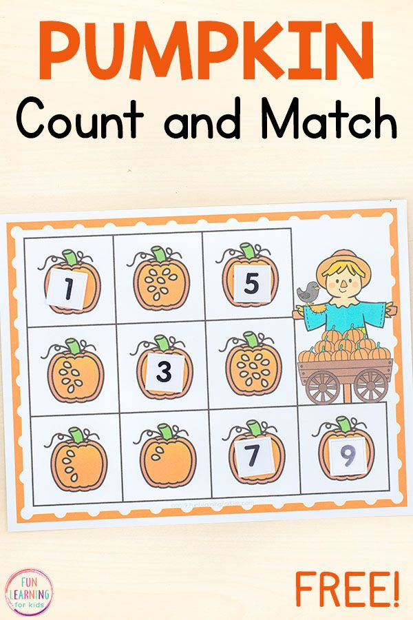Pumpkin Count and Match Mats Counting Activity