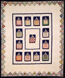 """Designed and executed by Bertha Stenge  American, 1891–1957  United States, Illinois, Chicago, Bedcover Entitled """"Quilt Show"""""""