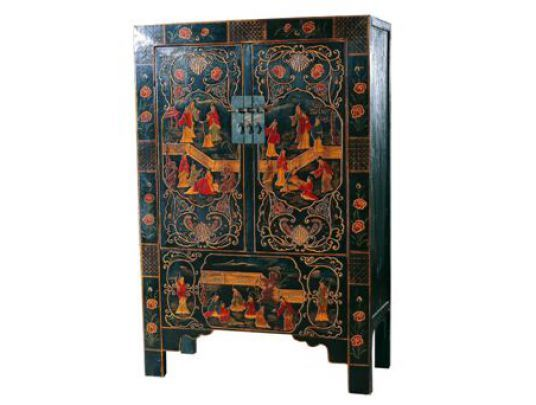 Черный шкаф с росписью Kitai BF-20352
