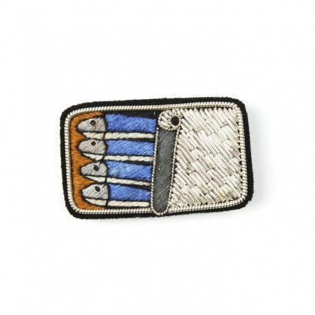 """Large hand-embroidered """"Can of sardines"""" brooch"""