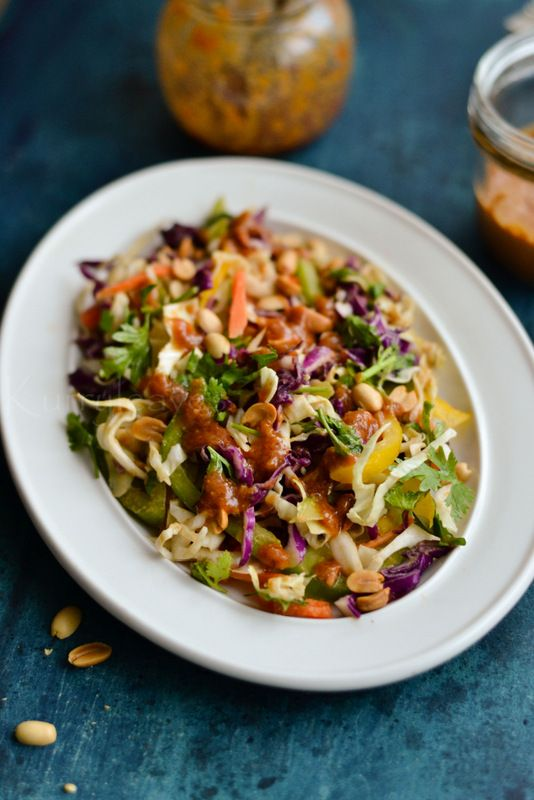 Asian Slaw with Ginger-Peanut Dressing | kurryleaves