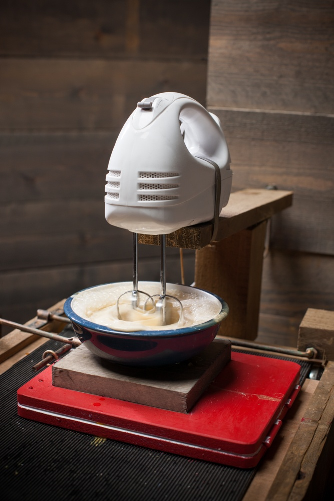 Watch a video of the cracking contraption here: http://thehappyegg.co.uk/happy-eggs-pancake-o-matic/