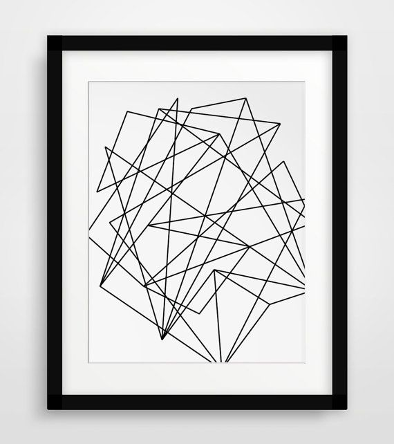 Abstract Geometric Print Geometric Art Black by MelindaWoodDesigns #Geometricprints