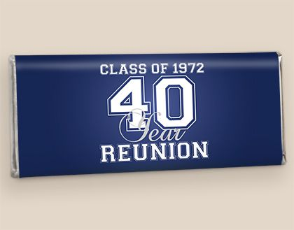 Varsity Reunion Chocolate Class Reunion Favors: Hershey Candy Wrappers #classreunion #schoolreunion #party