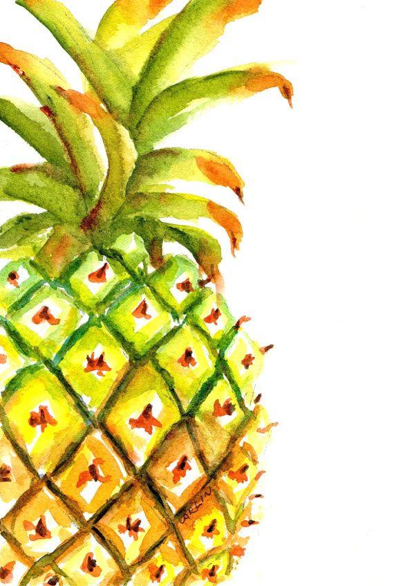 Pineapple Painting ORIGINAL Watercolor 5x7 by CarlinArtWatercolor artist Carlin Blahnik