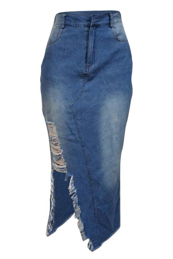 e0e254edf9 Shyfull Casual Broken Holes Slim Blue Denim Mid Calf Skirts ** ** $30.24  flash sale price**