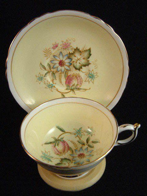 Paragon Tea Cup Saucer Double Mark Floral Vintage Floral Pattern Light Yellow #Paragon #cupsaucer