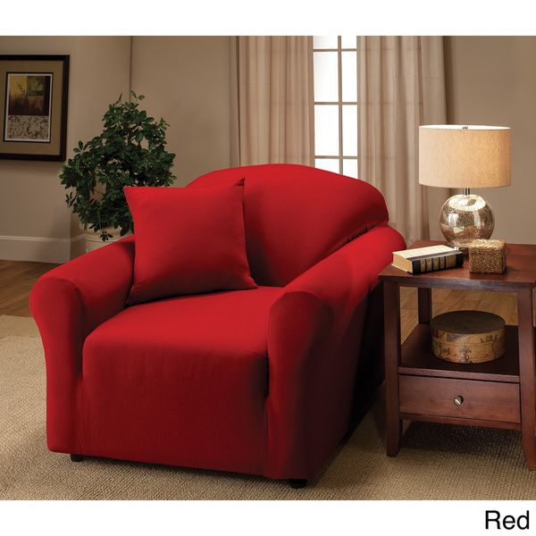 Slipcover Furniture Living Room: Stretch Jersey Chair Slipcover (Red), Madison