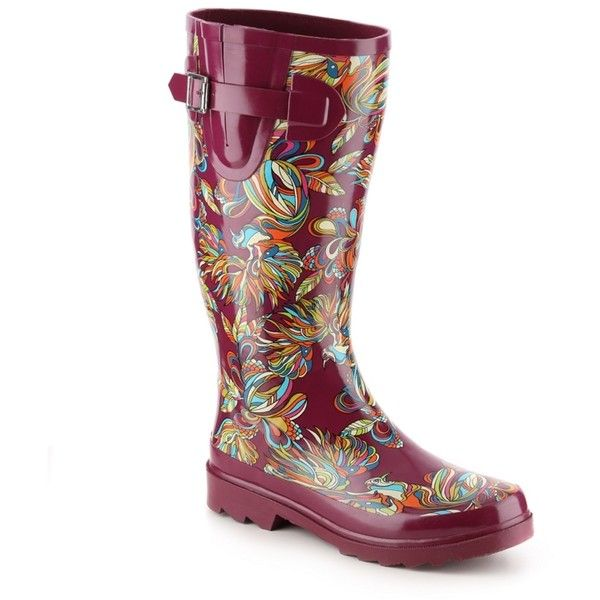 Sakroots Rhythm Peacock Rain Boot (£20) ❤ liked on Polyvore featuring shoes, boots, sakroots boots, wellington boots, rubber boots, multi colored boots and peacock feather shoes
