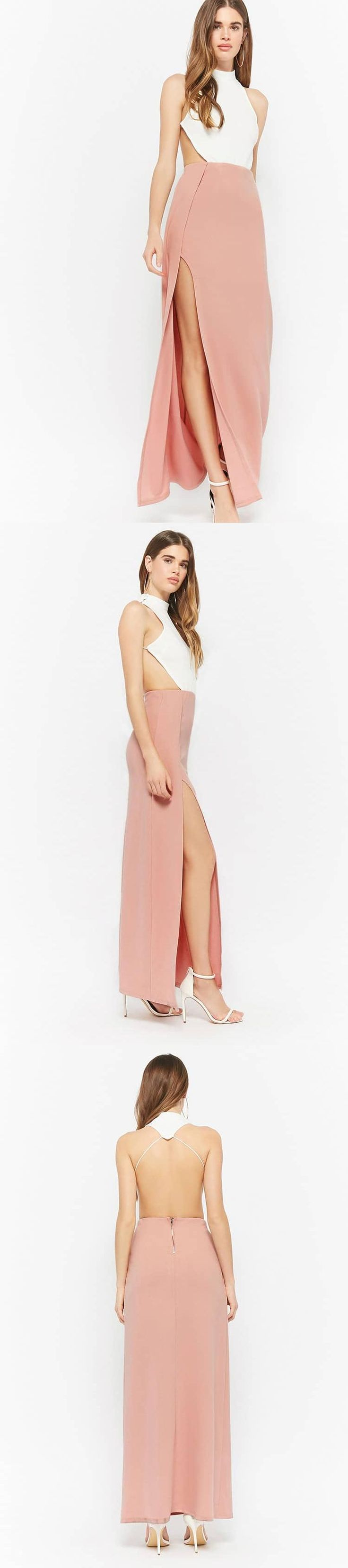 Contrast Halter Maxi Dress // 58.00 USD // Forever 21