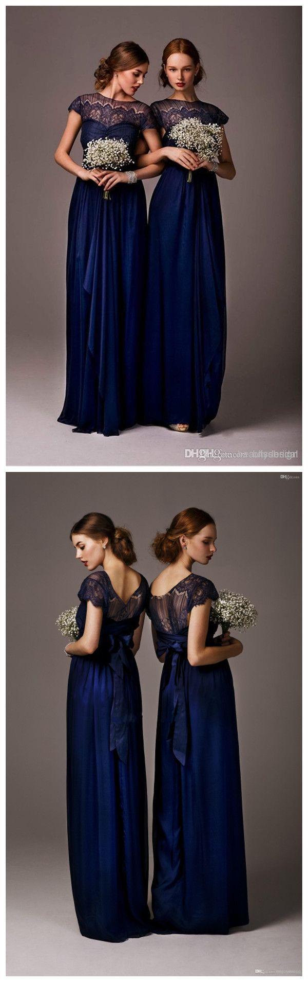 cheap navy blue chiffon bridesmaid dresses
