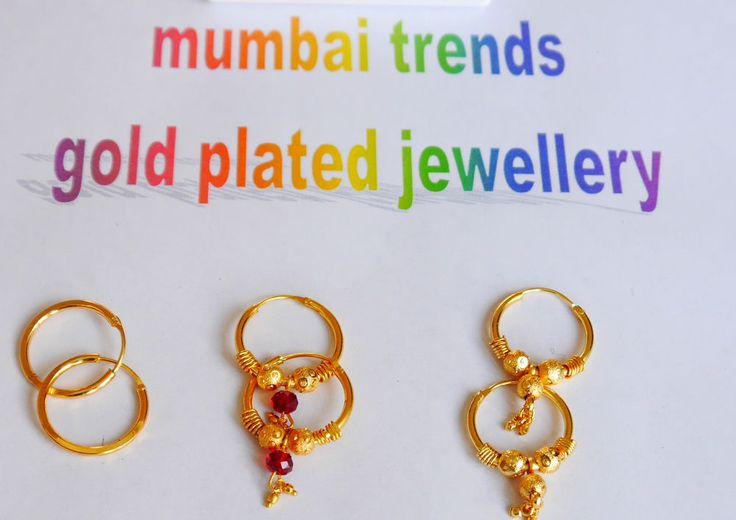 jewelry indian eleghant womens round earrings gold plated h24 hoop/sleeper ladi