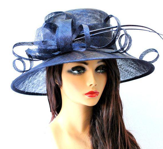 Kentucky Derby Hat, Navy Hat, Church hat, Tea Party Hat, Navy Blue Hat, Tea Party Hat, Fashion Hat, Church Hat, Derby Hat