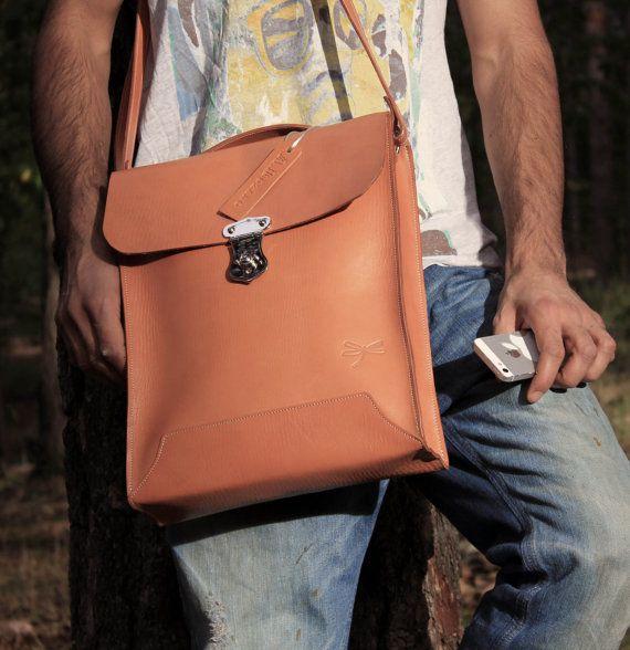 Leather Men Bag Mens business bag computer bag by Ludena