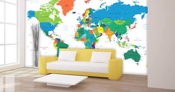 72in wide x 36in high. This cool world map mural is a great functional and decorative piece. It displays all continents with each country labeled by