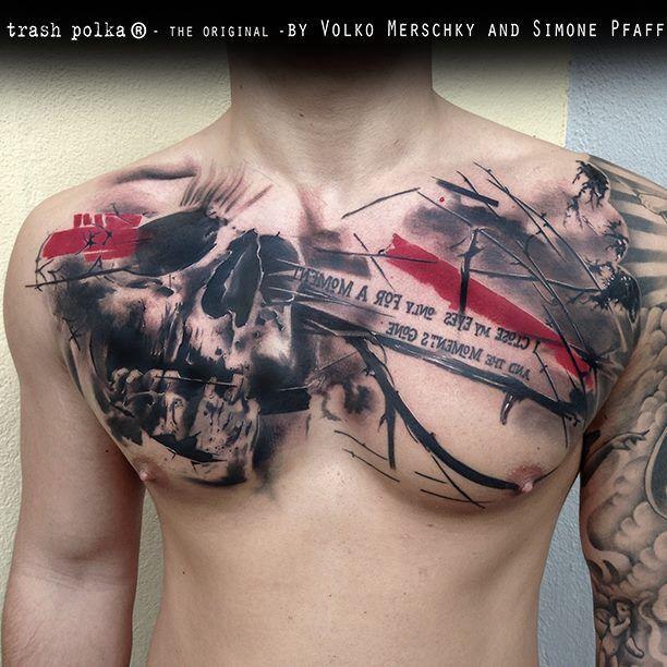 Cool skull chest tattoo