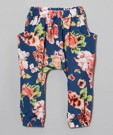 Loving this Navy Floral Harem Pants - Infant, Toddler & Girls on #zulily! #zulilyfinds
