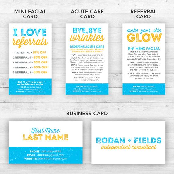 Rodan and Fields Business Cards Kit Blue  by LittleBizDesigns