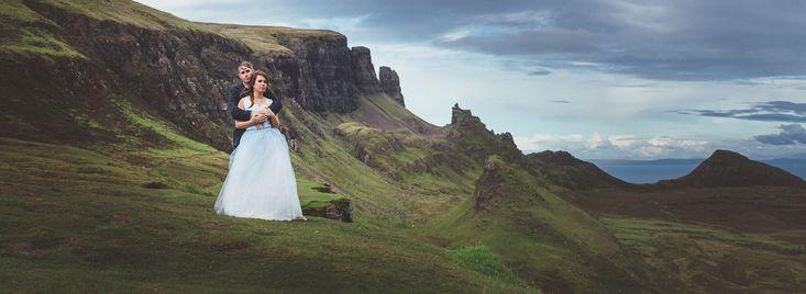 Elopement Wedding Scottish Highlands, Isle of Skye. Vow Exchange, Fairy Glen & The Quiraing. Outdoor wedding, Scotland. Wedding photography by Wilson McSheffrey, Glasgow.