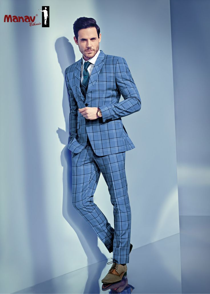 Putting on a beautifully designed suit elevates one's spirit, extols a sense of self, and helps define him as a man to whom details matter. Enhance your presence with this 2-piece sky blue checks suit. #SuitUp #Skyblue #Checks #TwopieceSuit #SuitAndStyle #BestCollection #ManavEthnic #Best #Handpicked #New#Collection #Dapper #Classy #Gentlemen #GentlemenStyle #GoodFit #WellDressed #MensStyle #MensFashion #MensWear
