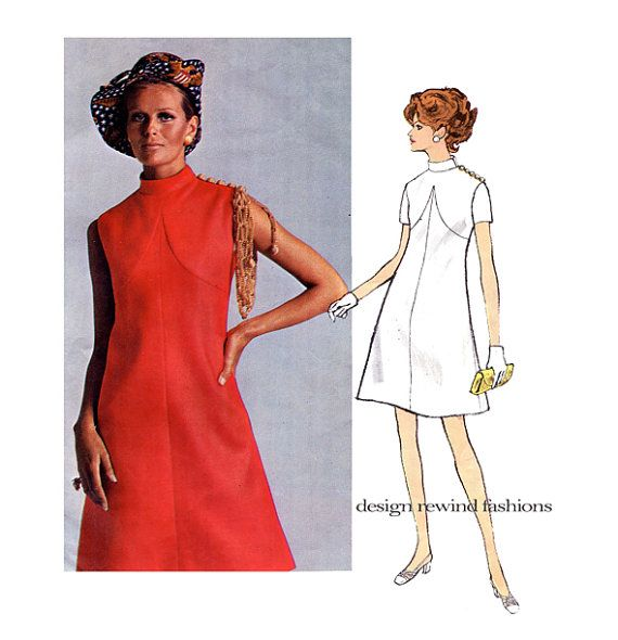 1960s VOGUE DRESS PATTERN Mod Standing Collar Dress Bill Blass Designer Vogue 2157 Americana Bust 34 Vintage Womens Sewing Patterns + label