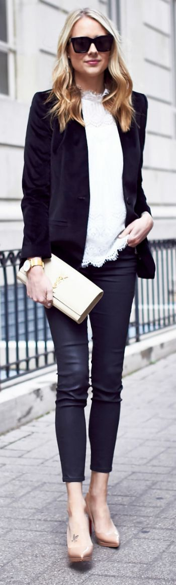 Amy Jackson + sleek and sophisticated + smart casual style + white blouse + velvet blazer + matching white clutch + skinny jeans or leggings + slim-fit look + look good with either heels or flats!  Blazer/Top/Trousers: Nordstrom, Shoes: Christian Louboutin, Clutch: Saint Laurent.