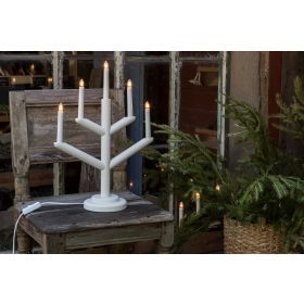 Elektrischer Kerzenleuchter 5 Kerzen Weiß