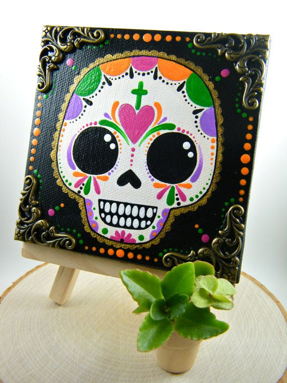 3x3 Sugar Skull Canvas Painting on Etsy by My Mayan Colors (Ruth Barrera). All images are the sole property of My Mayan Colors and not intended for copy.