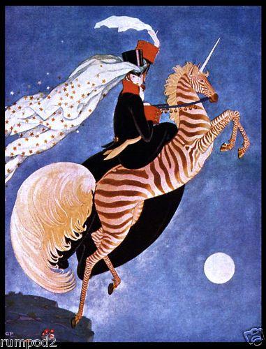 ART Deco Poster Woman ON Zebra Unicorn