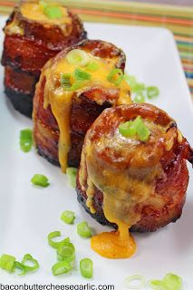 Bacon, Butter, Cheese & Garlic: Volcano Potatoes - stuffed with ham & cheese, wrapped with bacon, grilled and basted with BBQ sauce