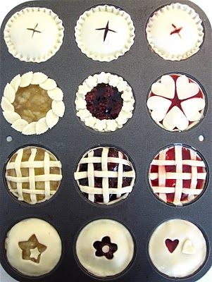 Miniature pies: A lovely way for us pie lovers to use those cupcake pans everyone else uses! The Dollhouse Bake Shoppe is amazing, and I give her all credit for this idea. Visit her blog for more great ideas.