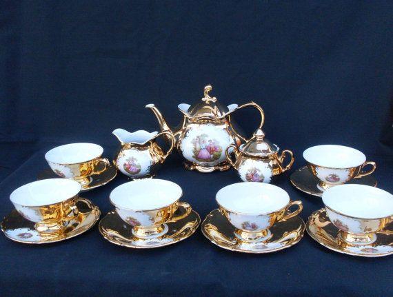 coffee or tea set for 6 Z u0026 Co Tirschenreuth Bavaria gold trim wedding gift & The 11 best Bavaria Gold Tea Set images on Pinterest | Tea sets ...
