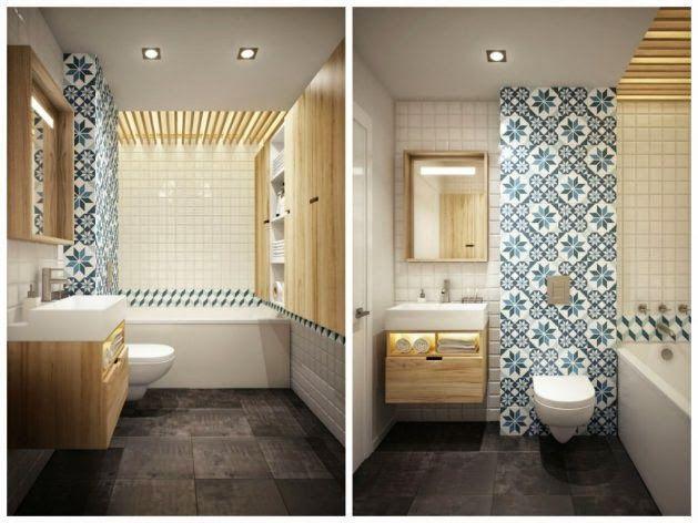 betonowe płytki na posadzce,biało-niebieska glazura hiszpańska,drewniana sklejka na ścianie i zabudowie umywalki w łazience - Lovingit.pl