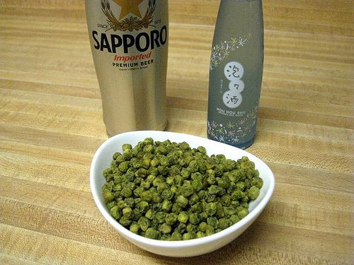 I know you can buy them, but here's a great recipe for Wasabi peas from Sarah Sprague.