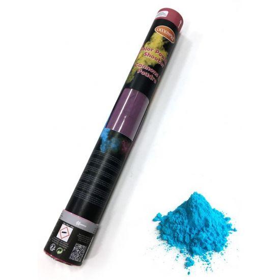 Kleurenpoeder shooter, de kleur van het poeder is blauw, de grootte van de shooter is ca. 40 cm. Het gewicht van de kleurenpoeder shooter is 350 gr. De kleurenpoeder is niet ontvlambaar en is makkelijk uitwasbaar.