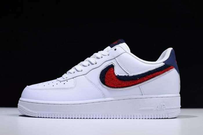 "a14d8e106f755c Nike Air Force 1 Low '07 LV8 ""Chenille Swoosh"" White/University Red-Blue  Void 823511-106"