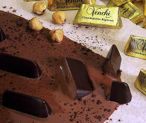 Filled Gianduiotto, Italian specialty chocolate.