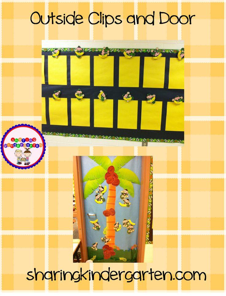 Bulletin board display with monkey theme.