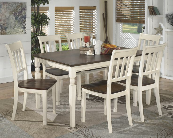 Whitesburg 7 Piece Cottage Style Two Tone Dining Table And Side Chairs Set