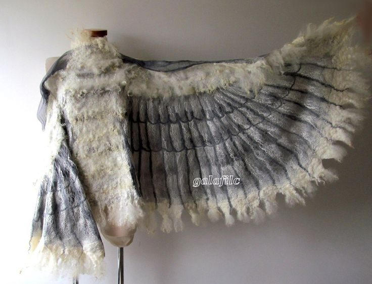 Winged shawl Wings scarf  Felted scarf,  costume wings, Nuno felted scarf, White owl wings felt wings feather  women felt collar by Galafilc by galafilc on Etsy