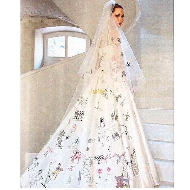 Angelina's Wedding Dress From The Back With Her And Brad's