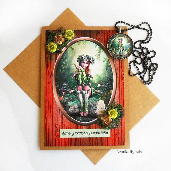 Woodland Elfin Happy Birthday Greeting Card and by Beauladigitals