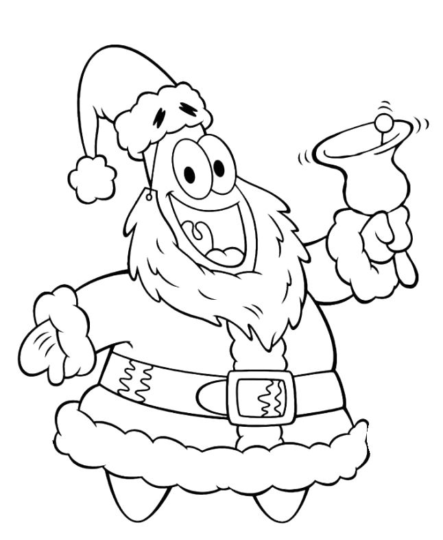 christmas spongebob coloring pages - patrick friend spongebob christmas bells coloring page