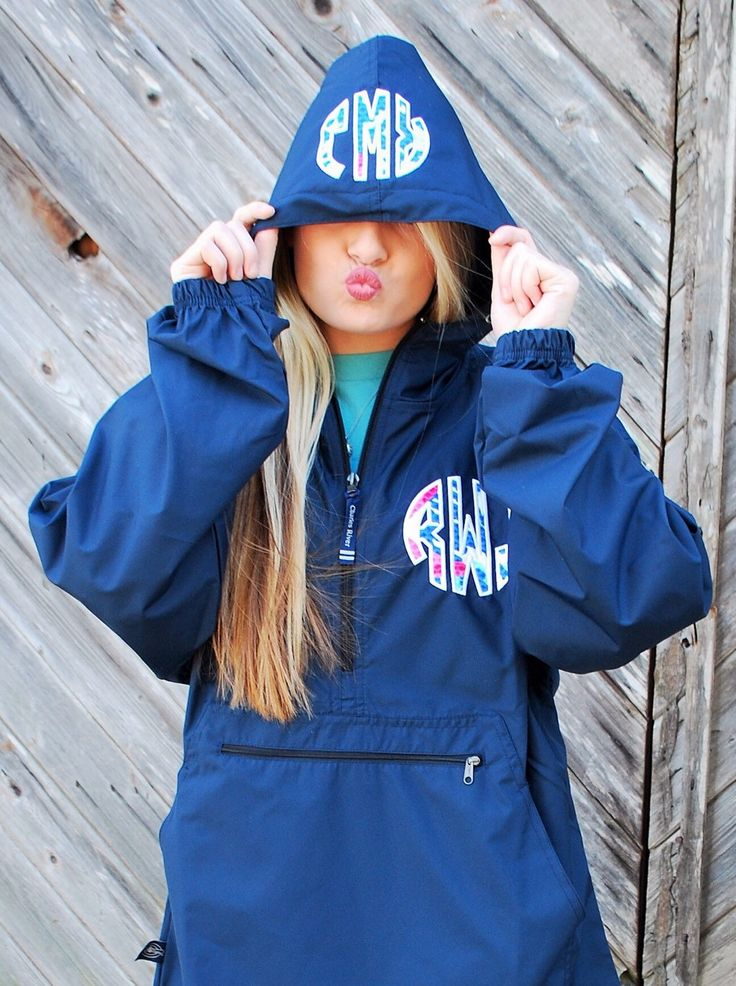 Preppy Charles River Pack N Go Pullover Wind Jacket with Lilly Pulitzer Double Monogram Light Rain Jacket by TantrumEmbroidery on Etsy