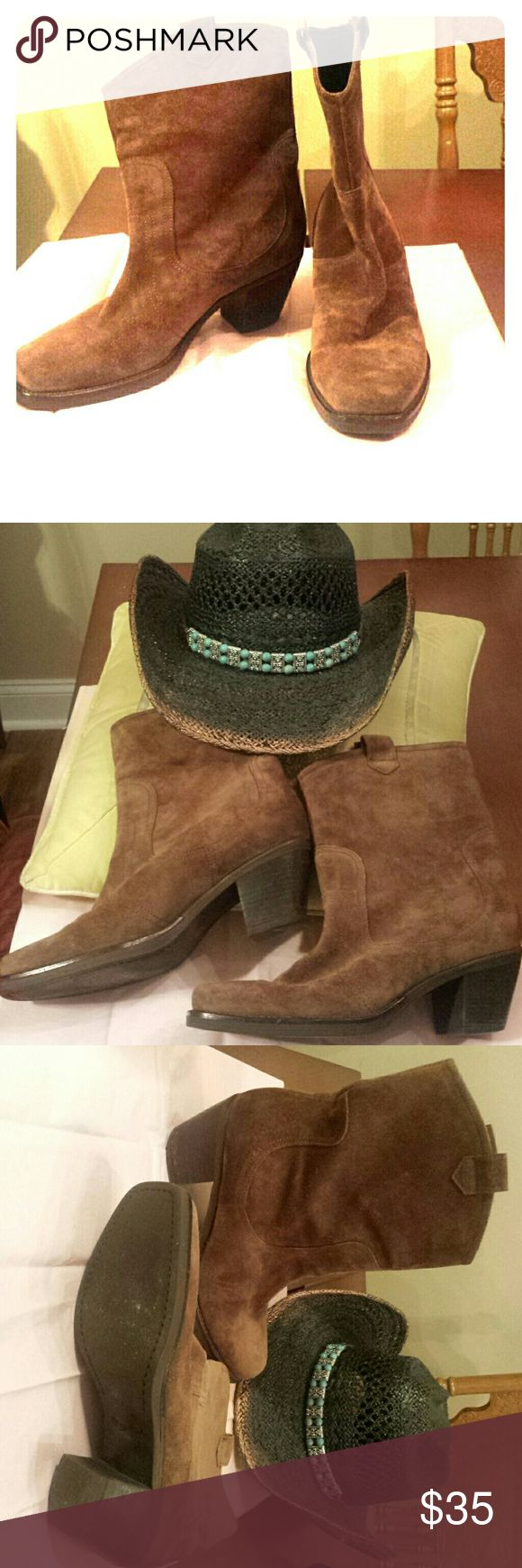 VIA SPIGA WESTERN MID CALF BROWN SUEDE BOOTS WOMENS VIA SPIGA WESTERN MID CALF BROWN SUEDE BOOTS SIZE 8.5 used Via Spiga Shoes Ankle Boots & Booties