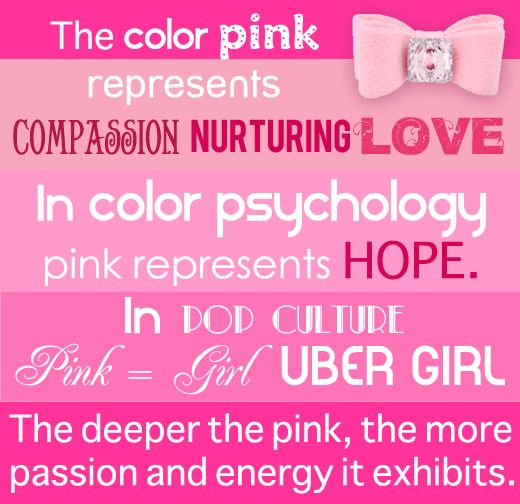 """Pink Psychology ~ """"Pink's supposed psychological effects include:  muscle relaxation, tension relief, calmness, and warmth.  Pink is said to stand for selfless love, gratitude and sympathy and may have soothing effects on the human psyche.  In colour therapy, pink is used as an appetite suppressant.  And in some places prison cells are even painted pink to calm prisoners. """""""