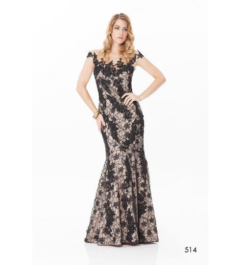 Rose Noir - Sheer Lace Gown  Black lace sequin gown with nude lining featuring sheer top and tulle fishtail hem.    Main: 100% Nylon, Lining: 100% Polyester.    BUY NOW