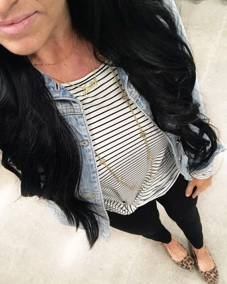 """636 Likes, 52 Comments - Jules (@teacherfashionista) on Instagram: """"Wore all my best closet staples in one day: black work pants, denim jacket, leopard, and stripes! …"""""""